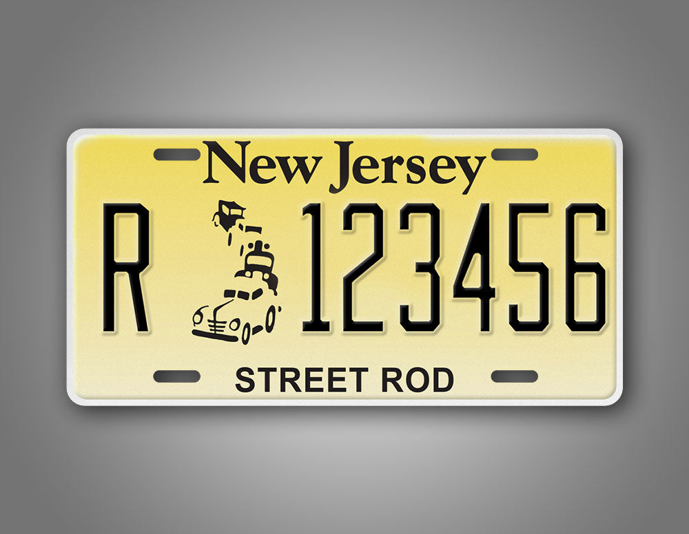 Personalized Text New Jersey Hot Rod License Plate