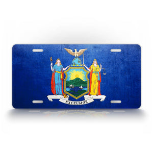 New York State Flag Weathered Metal License Plate