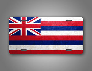 Weathered Metal Hawaii State Flag Auto Tag