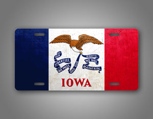Weathered Metal Iowa State Flag Auto Tag
