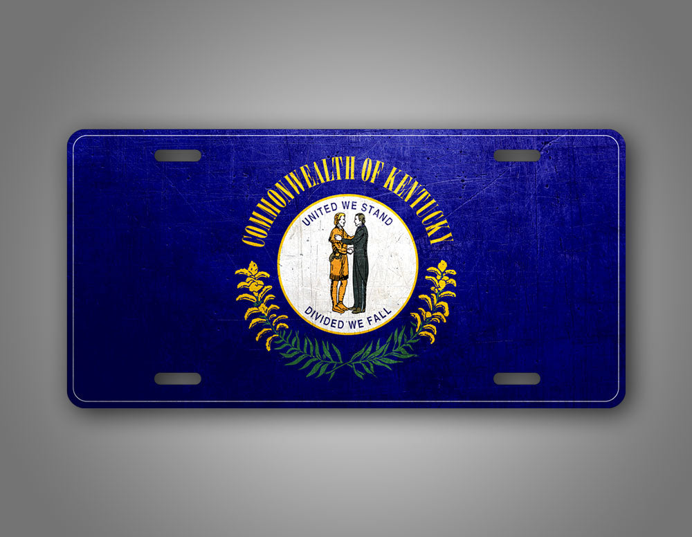 Weathered Metal Kentucky State Flag Auto Tag
