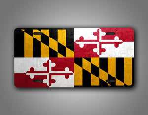 Weathered Metal Maryland State Flag Auto Tag