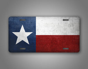 Weathered Metal Texas State Flag Auto Tag