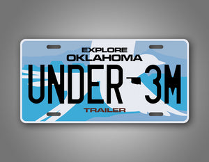 Oklahoma Under 3M Trailer License Plate