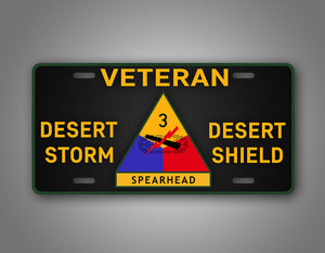 3rd Armored Division Veteran Operation Desert Storm And Shield License Plate Gulf War Auto Tag