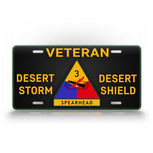 3rd Armored Division Veteran Operation Desert Storm And Shield License Plate