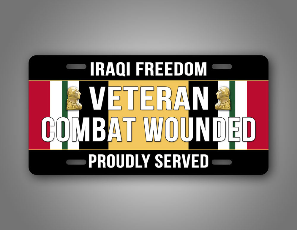 Iraqi Freedom Veteran Auto Tag With Iraq Campaign Medal In The Center