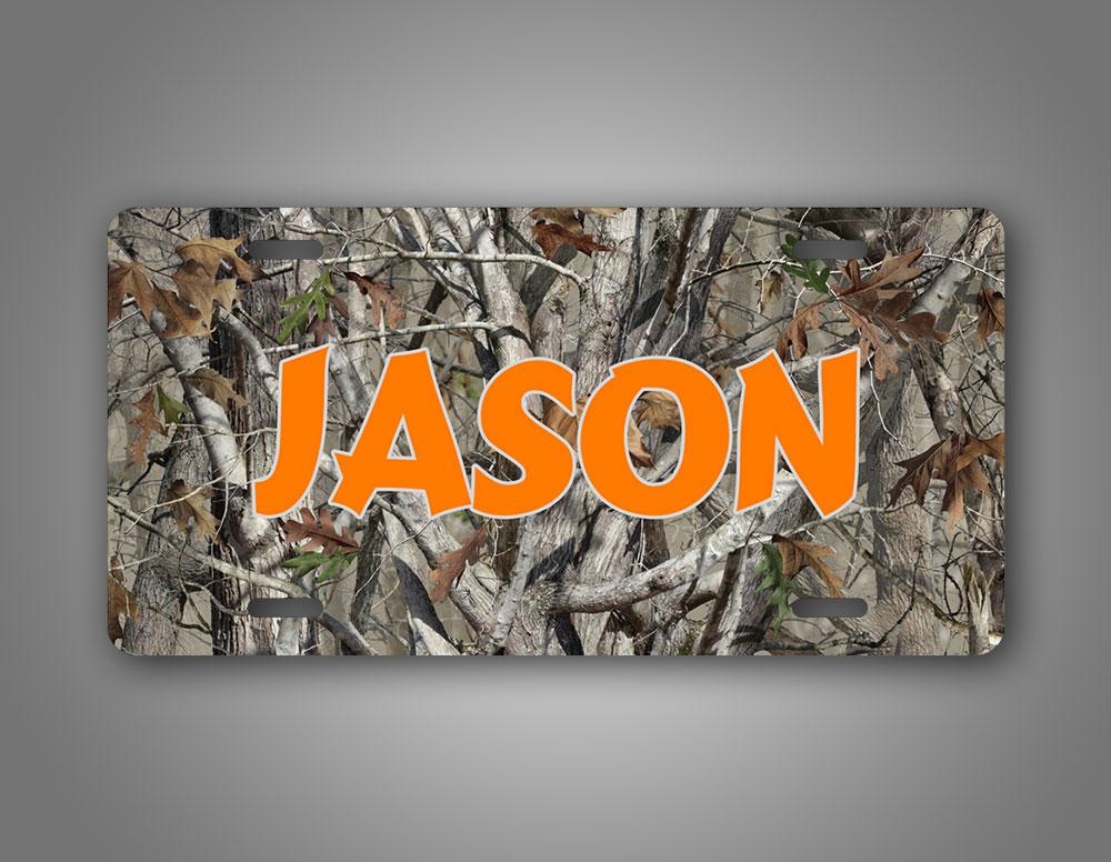 Orange Text Custom Camo Hunting Auto Tag