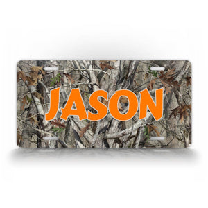 Orange Text Camo Hunting License Plate