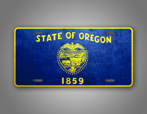 Weathered Metal Oregon State Flag Auto Tag
