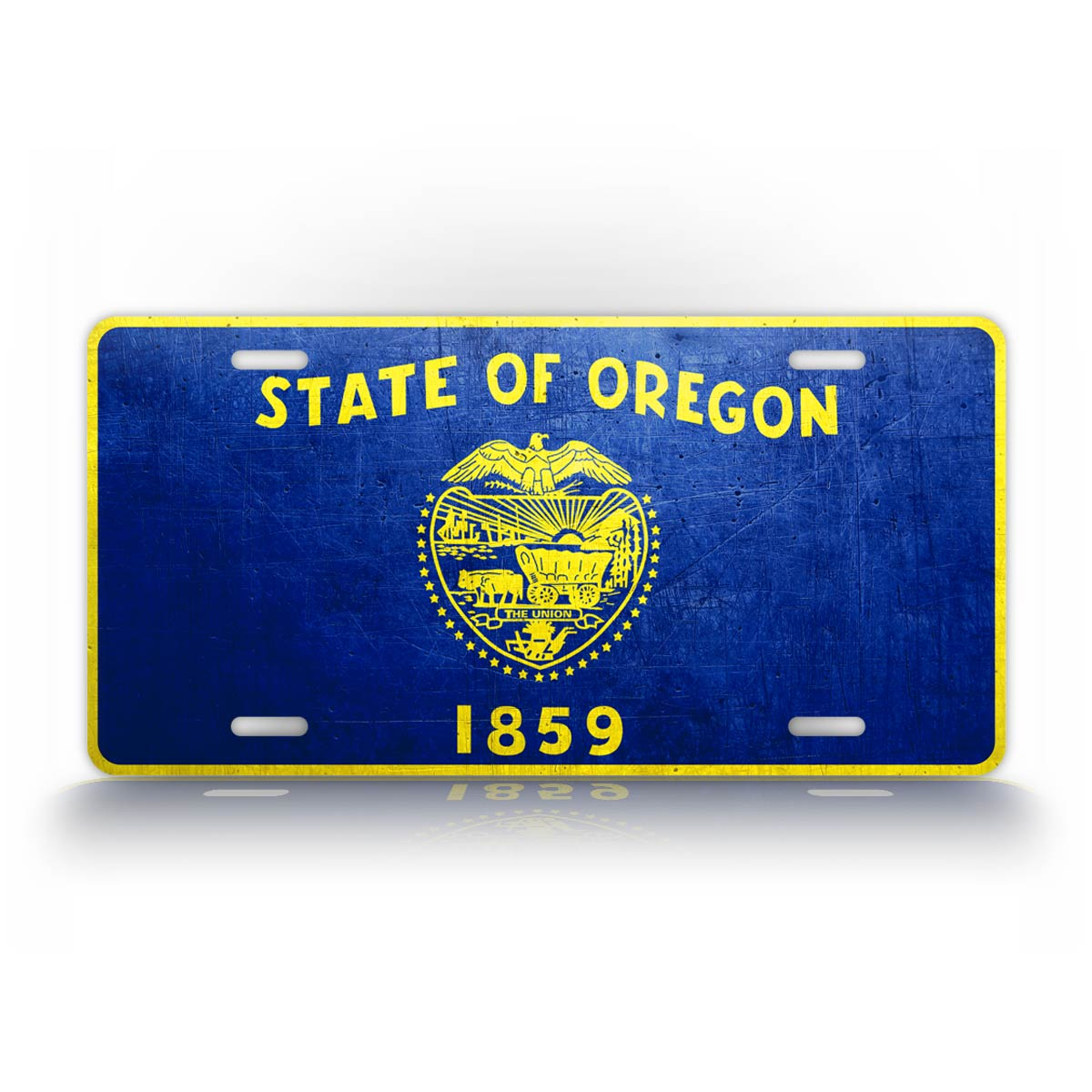 Oregon State Flag Weathered Metal License Plate