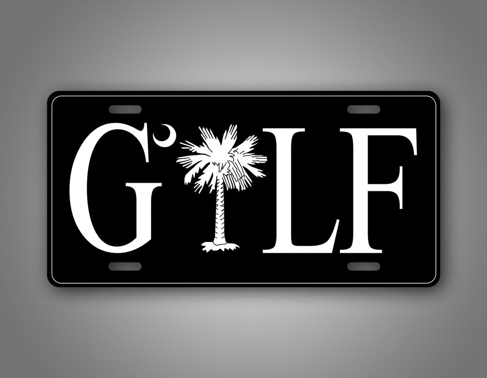 Black Palmetto Tree Golf License Plate Auto Tag
