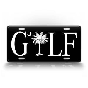 Black Palmetto Tree Golf License Plate