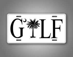 White Palmetto Tree Golf License Plate Auto Tag