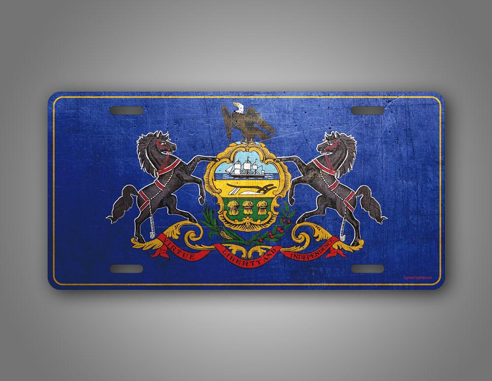 Pennsylvania State Flag Weathered Metal License Plate