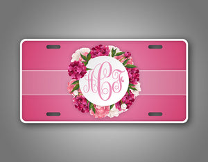 Personalized Pink Flower Monogram Auto Tag