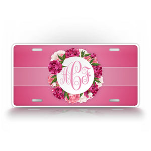 Personalized Pink Peony Flower Monogram License Plate