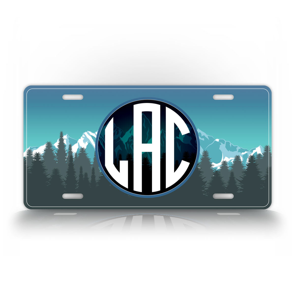 Custom Text Mountain Monogram License Plate