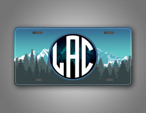 Personalized Beautiful Mountain Scene Monogram Auto Tag