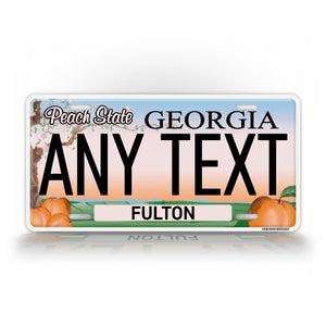Custom Georgia Peach State Any Text License Plate