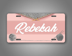 Personalized Any Name Pink Knitting License Plate