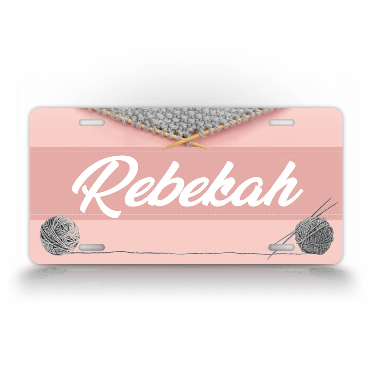 Custom Pink Knitting Monogram Name License Plate