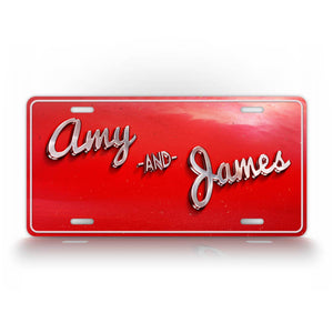 Red Retro Style Personalized Text License Plate