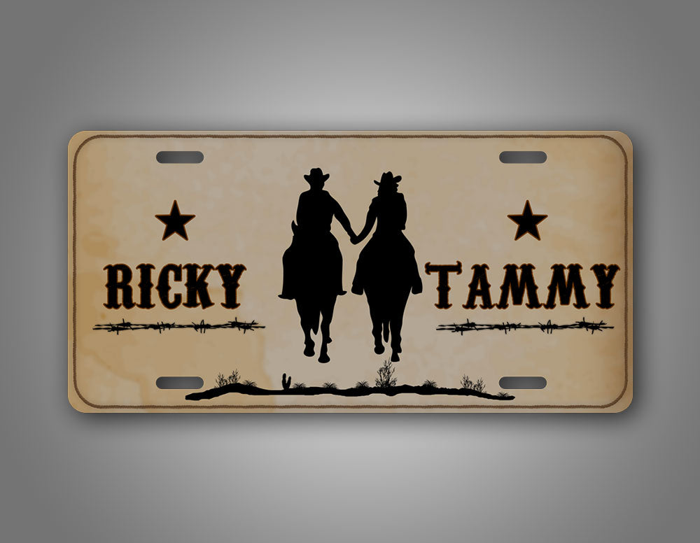 Personalized Western Cowboy License Plate Any Name Cute Couples Auto Tag