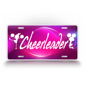 Cheerleader Cheer Girl Pink Colorful License Plate