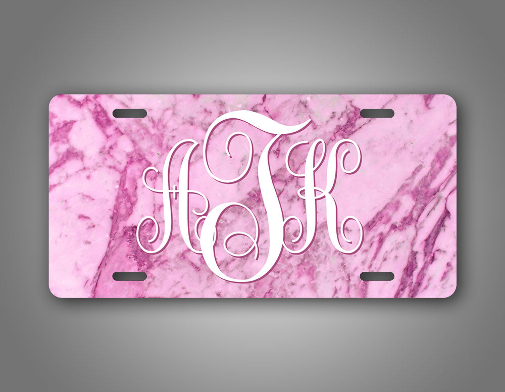 Custom Any Text Pink Marble Monogram Auto Tag