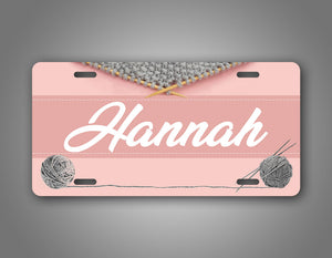 Any Name Custom Text Knitting Monogram License Plate