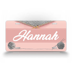 Pink Custom Any Name Knitting License Plate