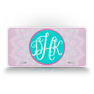 Personalized Pink Mandala Design License Plate