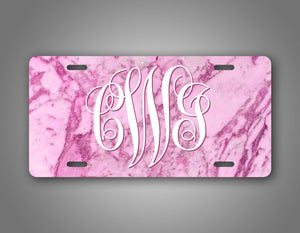 Personalized Text Pink Marble Monogram License Plate