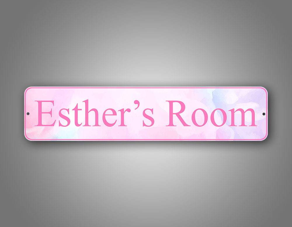 Stylish Custom Any Text Pink Watercolor Street Sign Room Decoration