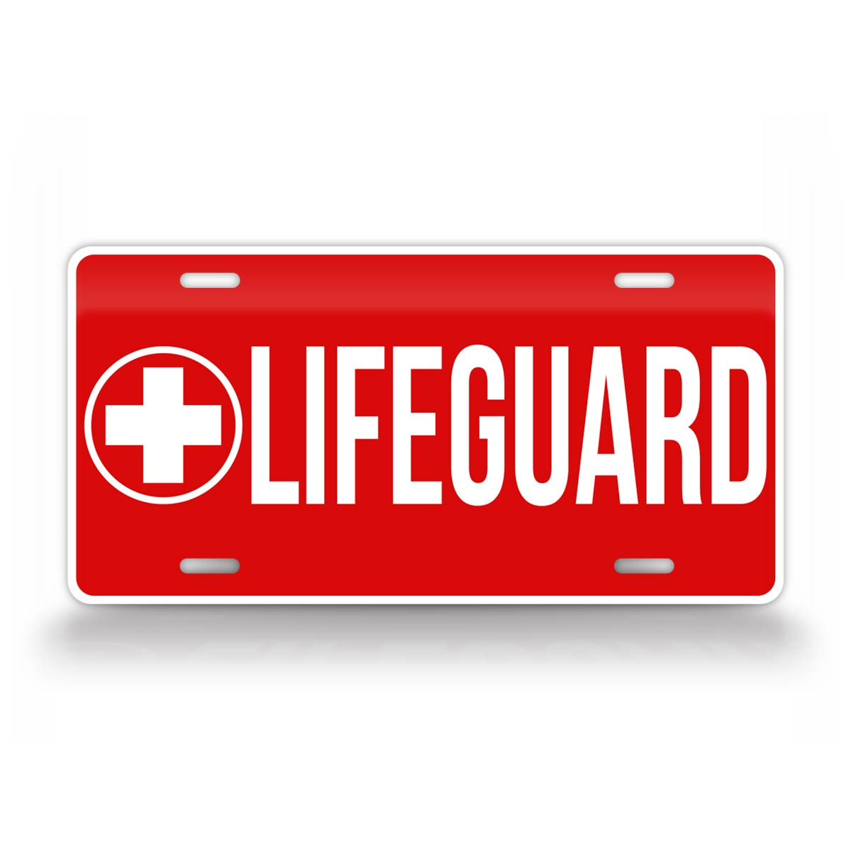 Bold Red Lifeguard License Plate
