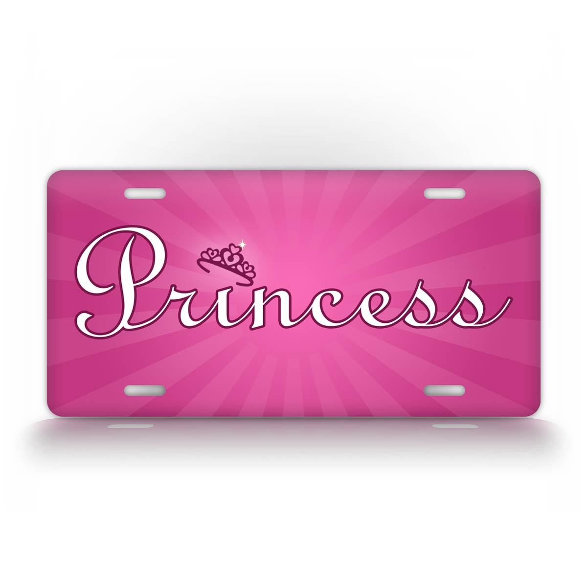 Pink Princess Crown License Plate