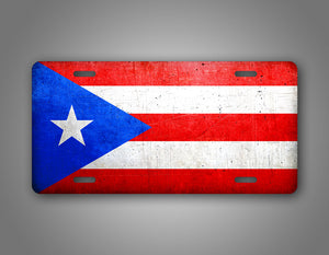 Weathered Metal Puerto Rico Flag Auto Tag