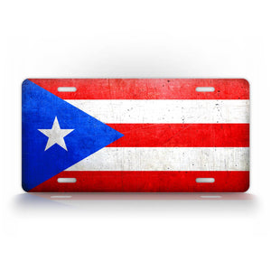Puerto Rico Flag Weathered Metal License Plate