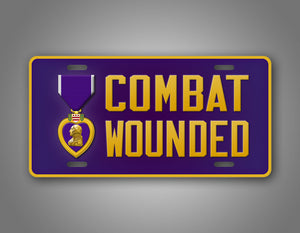 Combat Wounded Veteran Purple Heart Auto Tag