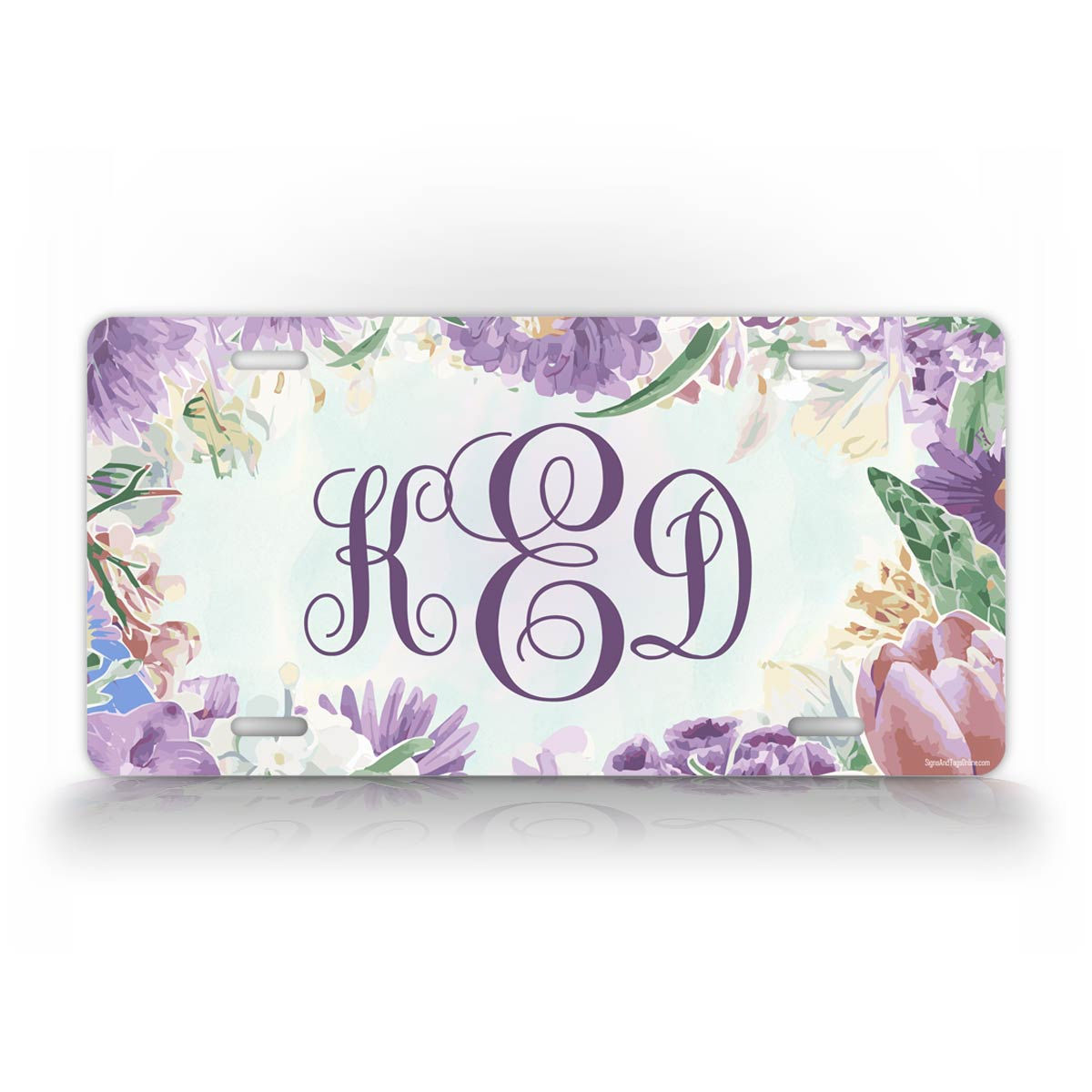 Personalized Purple Flower Monogram Auto Tag