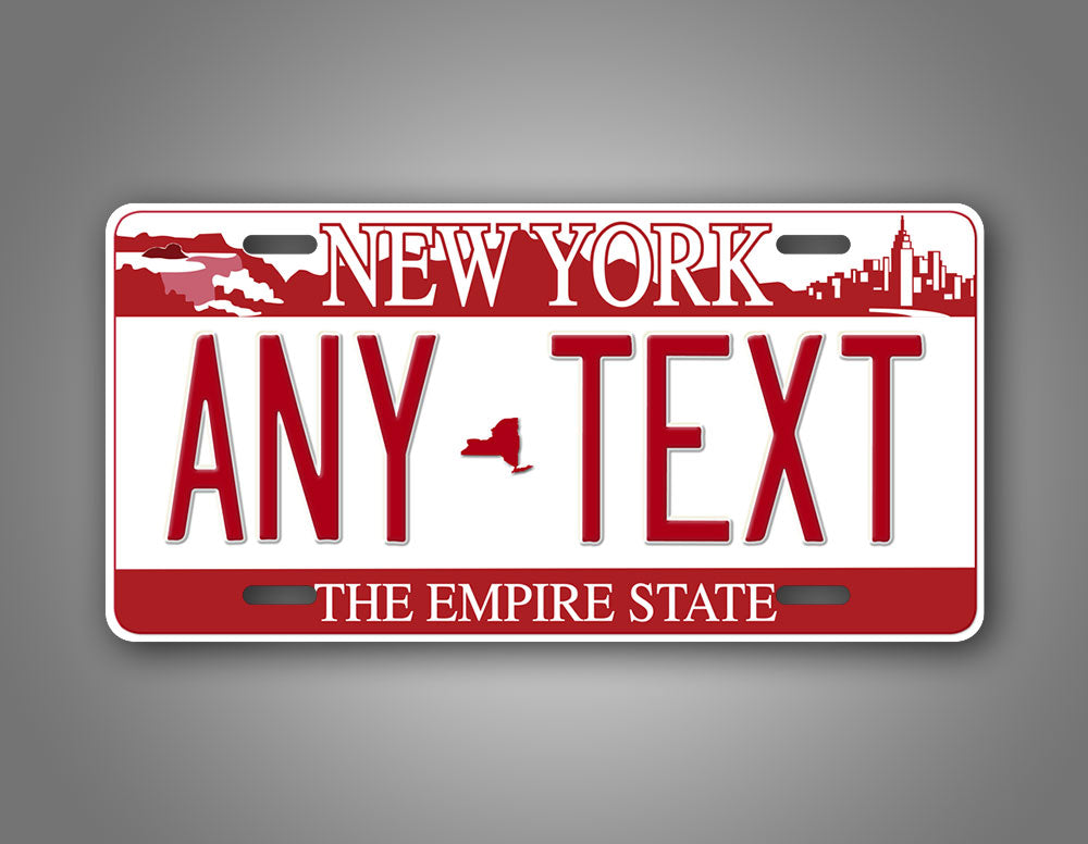 New York Falls Red Novelty License Plate