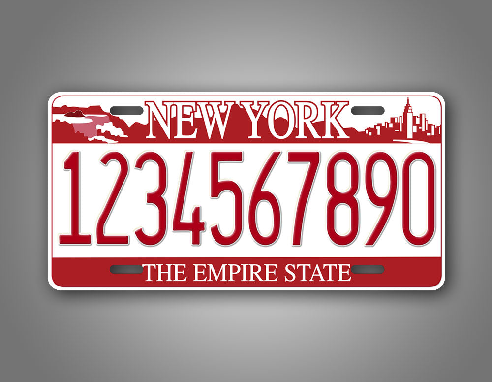 Any Text Novelty Red New York Falls License Plate