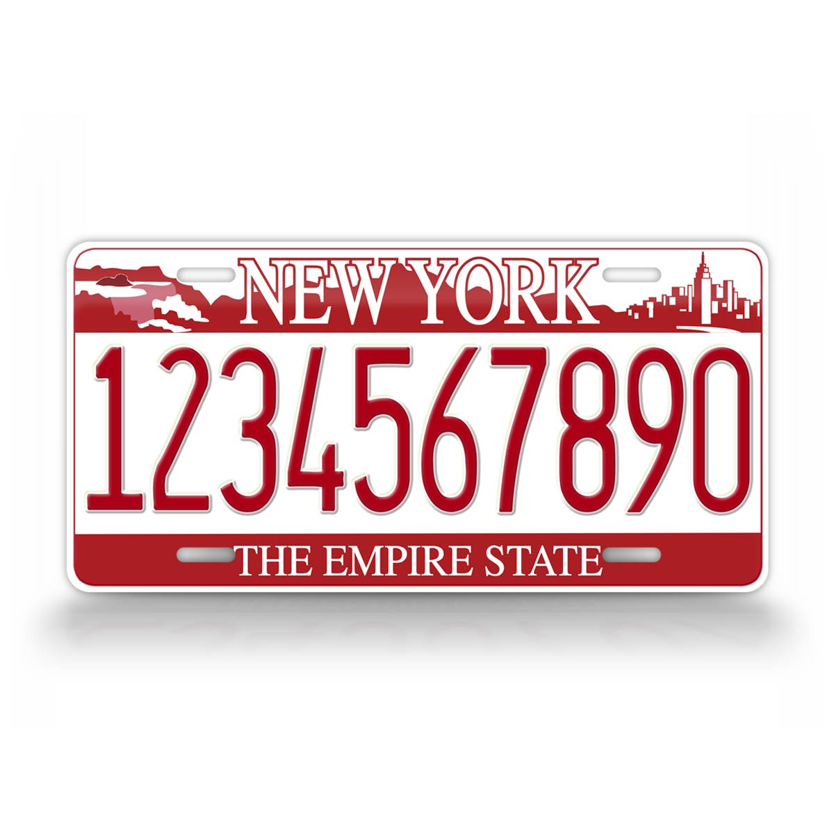 Personalized Red New York Falls License Plate