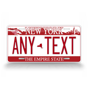 Custom Text Red New York Falls Novelty License Plate