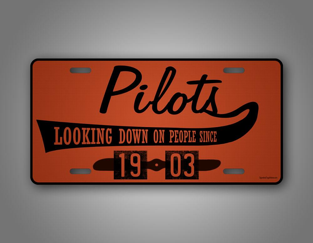 Maroon Aviator License Plate Pilots Looking Down On People Funny Auto Tag Plate