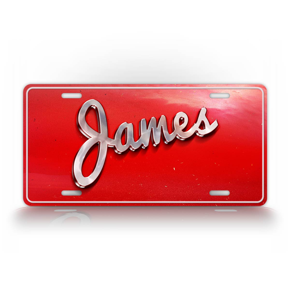 Red Retro Style Custom Text License Plate