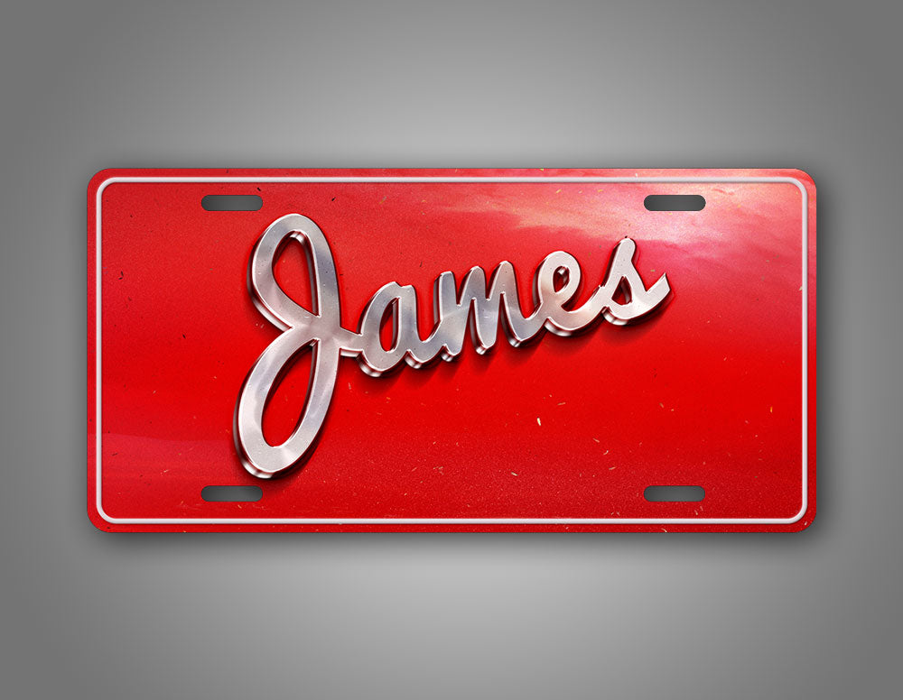 Red Vintage Style Custom Text License Plate