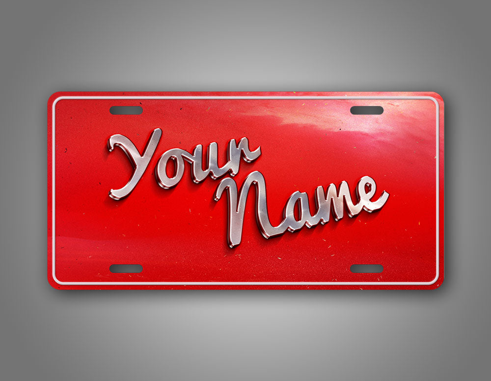 Red Vintage Style personalized Text License Plate