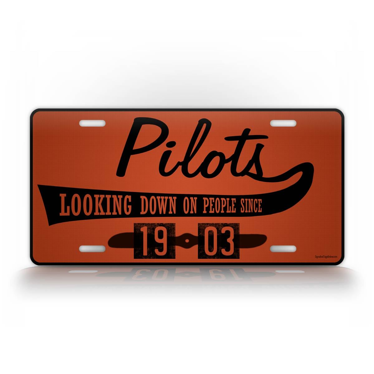 Maroon Aviator License Plate Pilots Looking Down On People Funny Auto Tag
